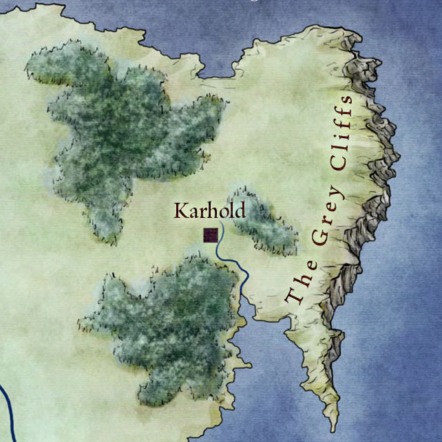 Grey cliffs and Karhold from map of The West for Game of Thrones