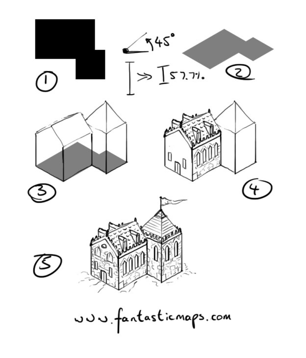 How to draw an isometric house fantastic maps House map drawing images