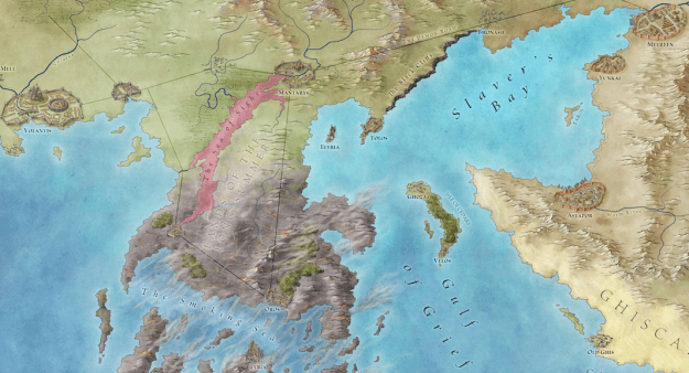 Valyria is southwest of Slaver's Bay, ad southeast of Westeros. Click for a larger view. ©George RR MArtin 2012, used with permission