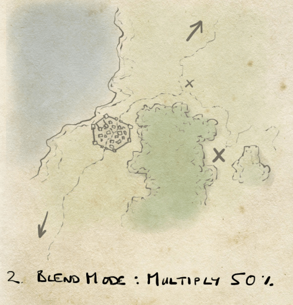 add a parchment layer and set map to multiply blend mode