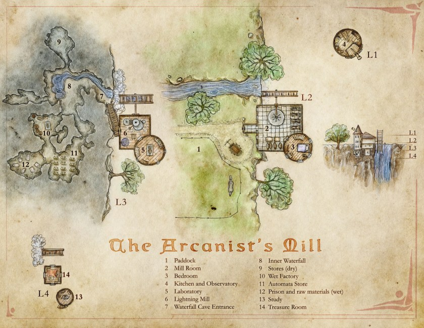 Free map of a wizards tower in a mill