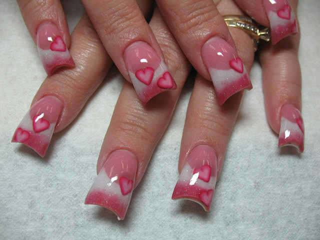 Awesome Nails With Black Tips And Hearts For Valentine S Day