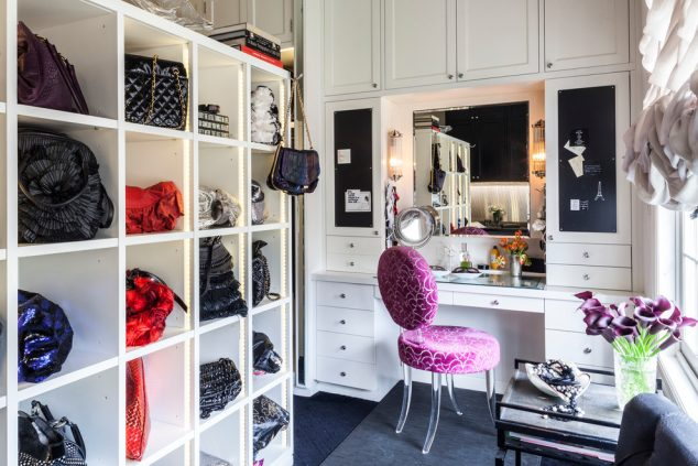 traditional handbags and clutches closet with cubbies at new york 634x423 12 Glamorous Dressing Room Closet Ideas For The Ladies