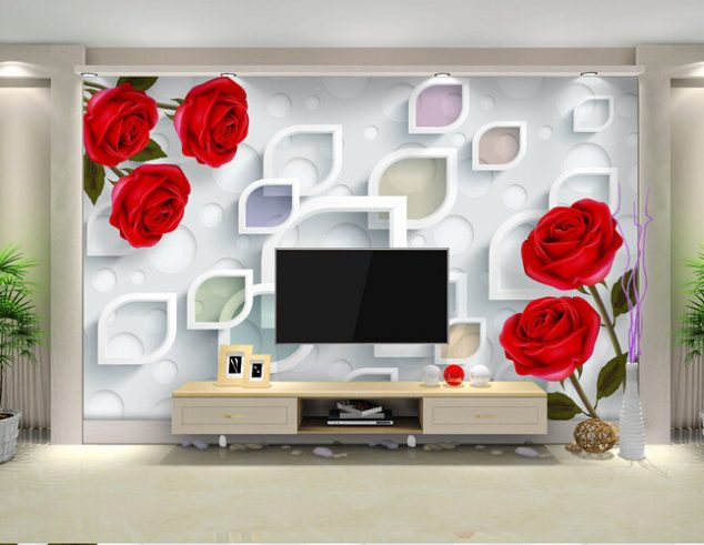 12 3D Wallpaper for TV Wall Units That Will Make a Statement Custom flowers wallpaper 3D fashion rose simple mural for the living room  bedroom TV background wall
