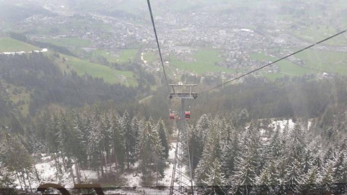 Eric maakte vanmorgen deze foto vanuit Kitzbuhel (Hahnenkammbahn)