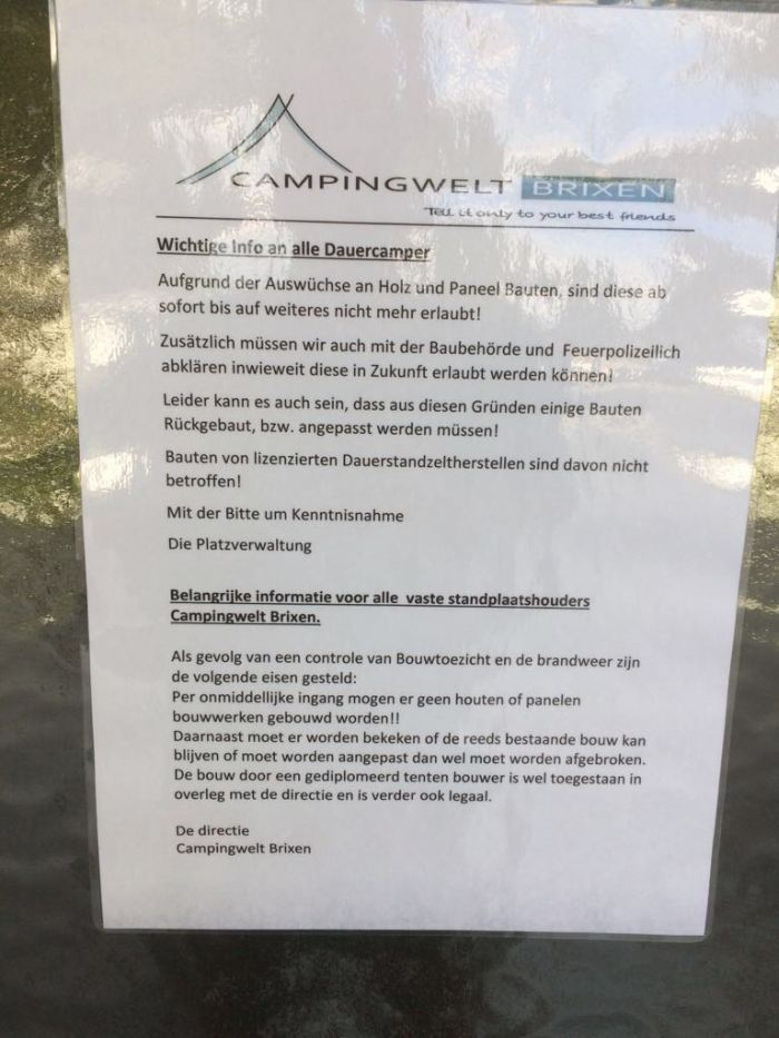 CampingWelt verbod op houtbebouwing