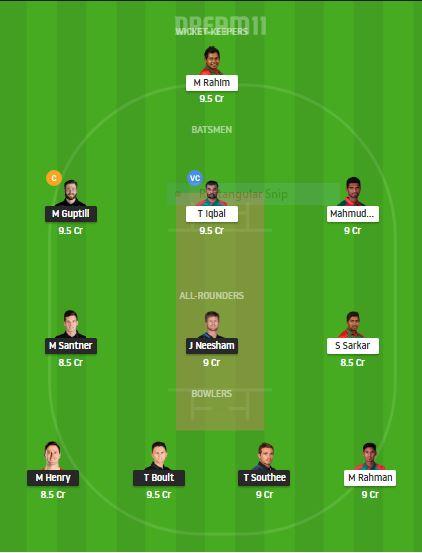 NZ VS BAN DREAM11 TEAM