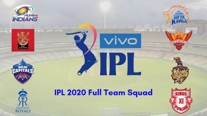 IPL 2020 Full Team Squad