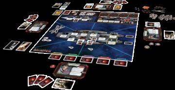 Battlestar Galactica board game set up