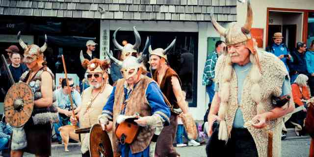 Old Vikings Marching Down a Street