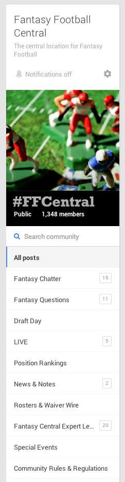 Fantasy Football Central Community Sidebar Screen