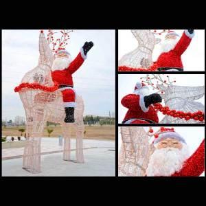 3D Santa With Reindeer