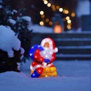 LED Acrylic Santa on Chimney