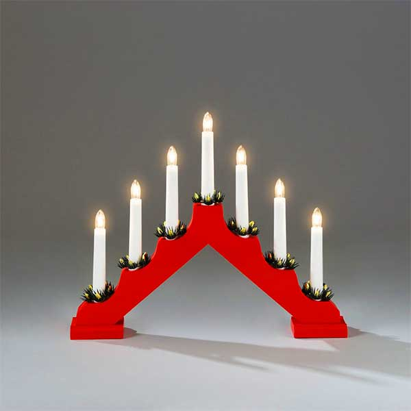 7 lights red candlestick