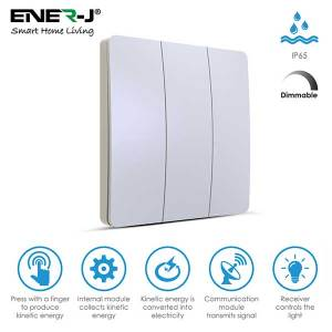3 Gang Wireless Kinetic Switch Dimmable/Non Dimmable (white body)