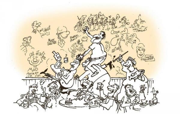 Un'illustrazione di Sergio Aragonés, collaboratore della rivista Mad, rappresenta la creazione della parete. (Fonte: Nytimes.com)