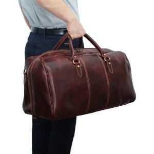 Borsone viaggio uomo pelle marrone chiusura a cerniera cuoio toscano giglio fiorentino borsa viaggio uomo