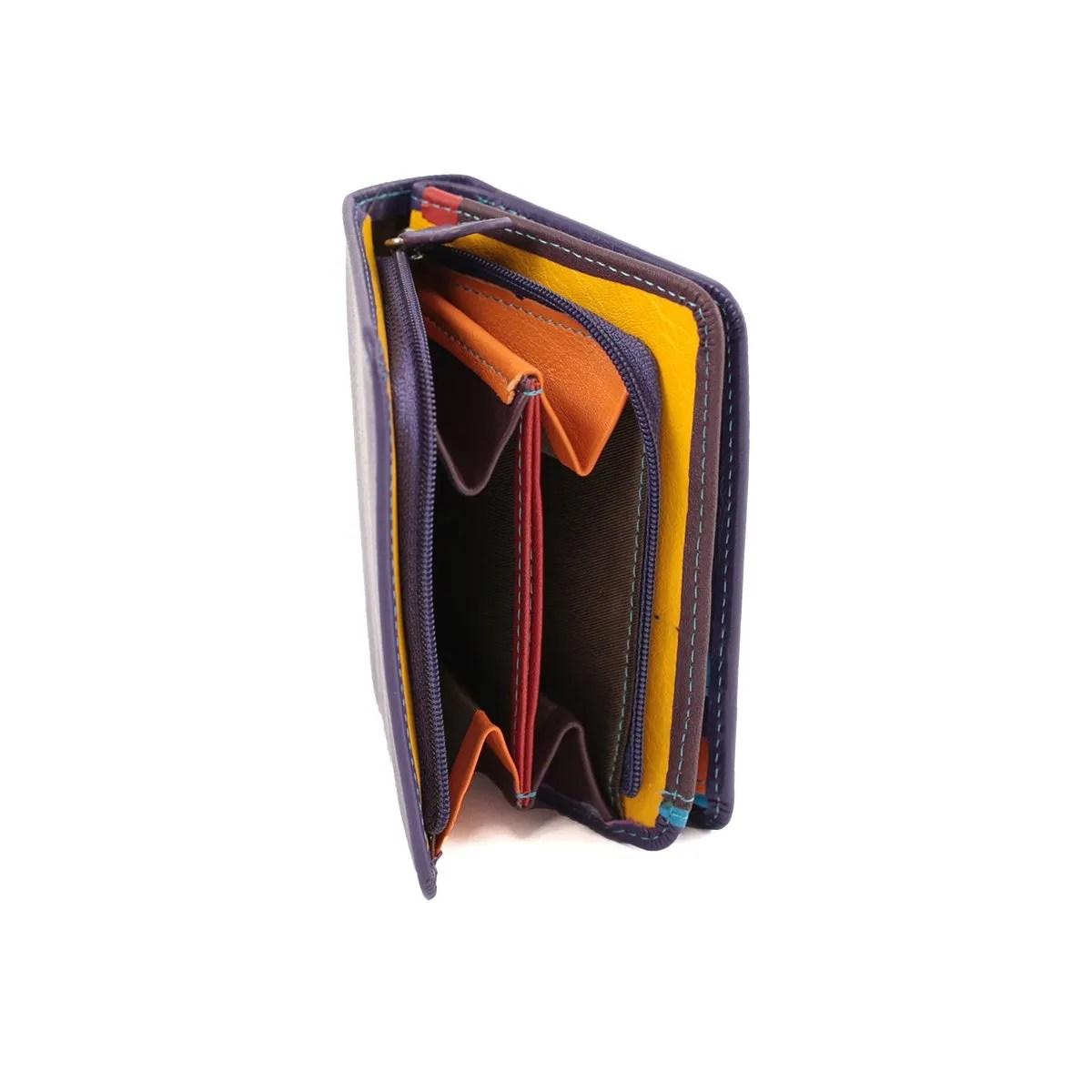 Portafoglio da Donna in Vera Pelle con Cerniera Zip Grande Giallo Nero Rosso Blu