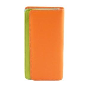 Portafoglio multicolore donna arancione in pelle chiusura bottone vera pelle morbida