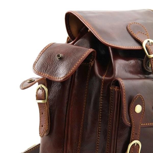 Tasca laterale zaino in pelle firenze cuoio toscano fatto in italia