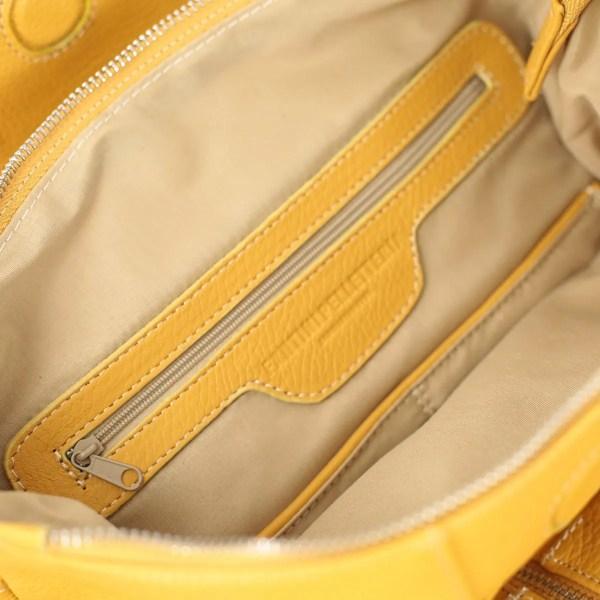 Tasche interne zaino donna in pelle giallo Fantini Pelletteria