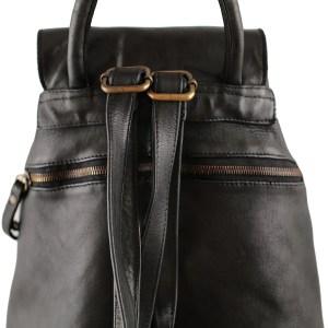 Retro zaino in pelle nero con tasca esterna Made in Italy