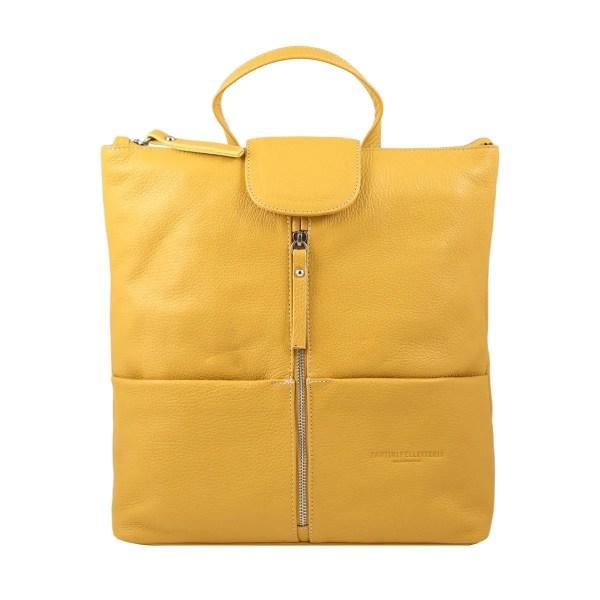 Zaino donna giallo in pelle Fantini Pelletteria Made in Italy