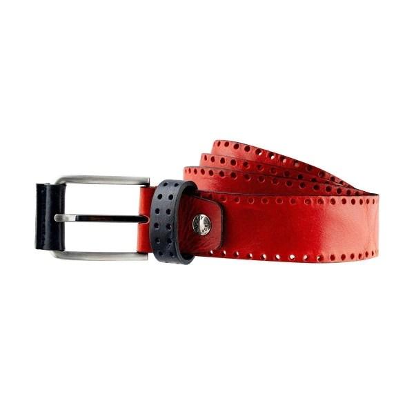 Cintura in vera pelle rossa Fantini Made in Italy con passante in pelle