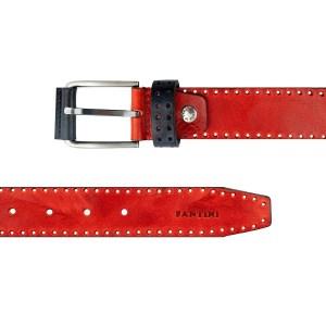 Cintura uomo in pelle rossa Fantini Made in Italy fibbia elegante