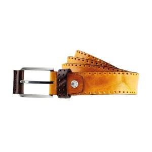 Cintura Fantini in pelle Made in Italy colore Giallo
