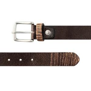 Cintura marrone scuro in vera pelle sottile