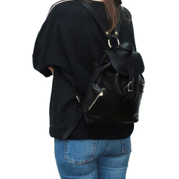 Zainetto piccolo donna nero vera pelle cuoio Firenze zainetto artigianale fatto a mano in Italia