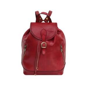 Zaino in pelle rosso donna vero cuoio Firenze Made in Italy cerniere e tasche esterne