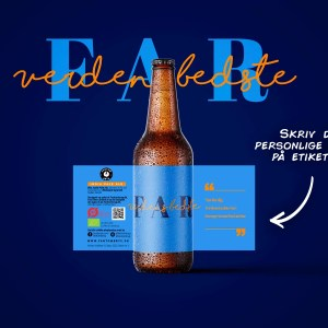 Fars dag øl med personlig hilsen på etiketten