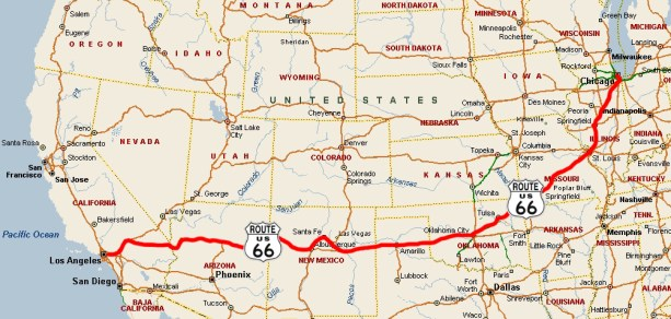 Map Of America Route 66 Route California Map on