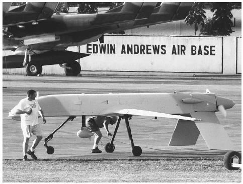 The U.S. military used several unmanned spy aircraft such as this GNAT Aerial Reconnaissance Vehicle to help the Philippine military hunt down Islamist extremist guerrillas on the Philippine island of Basilan in 2002. AP/WIDE WORLD PHOTOS.