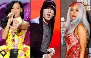 Lady Gaga, Katy Perry , Eminem