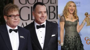 Globos de Oro 2012, Madonna, Elton John, David Furnish