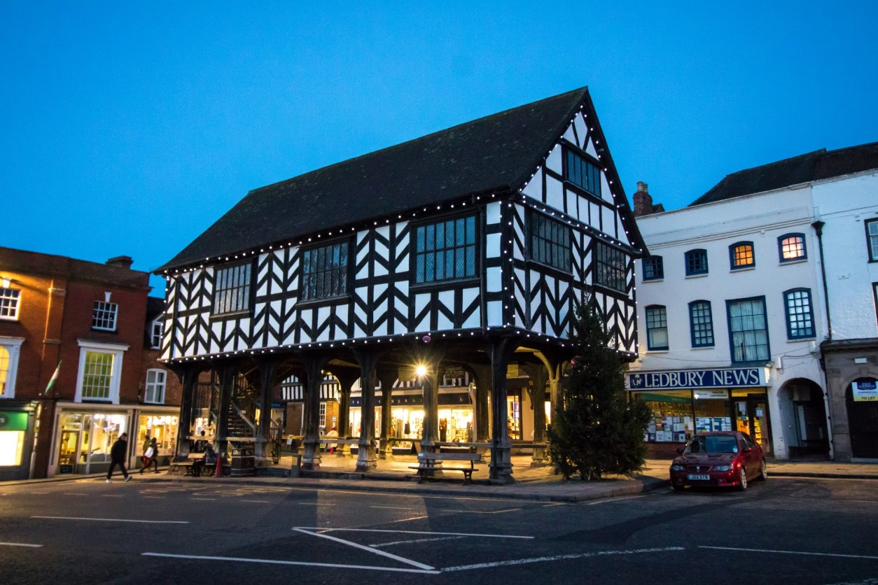 Ledbury Market House Black and White Timber Building at Christmas Top 25 Things to Do in Herefordshire