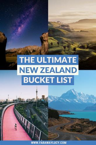 The Ultimate New Zealand Bucket List: 50 Things to Do. New Zealand itinerary. Things to do in New Zealand. What to do in New Zealand. Things to see in New Zealand. What to see in New Zealand. New Zealand travel guide. New Zealand travel blog. Includes sightseeing and wine tasting to skydiving and bungy jumping! Some of my recommendations include Hobbiton, Milford Sound, Waitomo Caves, Lake Tekapo, the Tongariro Alpine Crossing, hiking Franz Josef Glacier, visiting White Island, visiting Hot Water Beach, Aoraki/Mount Cook, zorbing in Rotorua, visiting Cathedral Cove, doing a Lord of the Rings Tour and visiting the cities of Auckland, Wellington, Queenstown, Dunedin, Hamilton and Christchurch. Click through to read more...