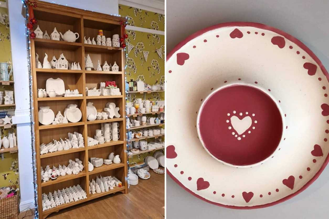 inside-of-bish-bash-pot-pottery-painting-white-plate-with-red-hearts-romantic-things-to-do-in-york-for-couples