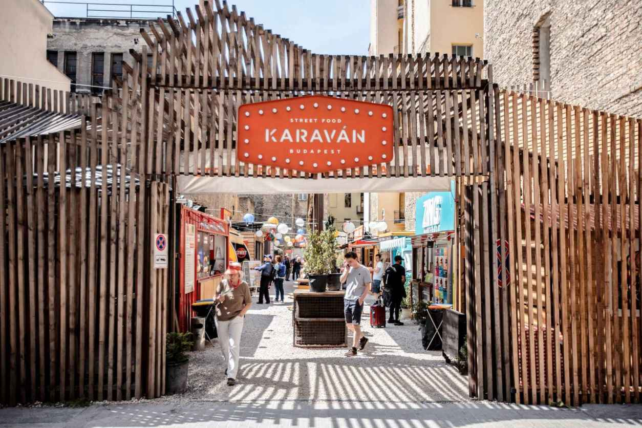 street-food-karavan-street-budapest-sign-and-gate-leading-into-indie-food-market-4-days-in-budapest-itinerary