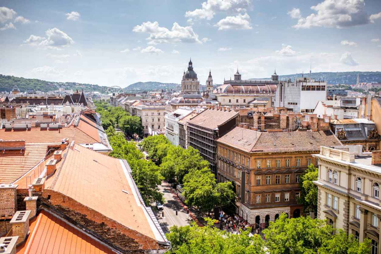 view-from-rooftop-overlooking-busy-street-andrassy-avenue-in-european-city-in-summer-4-days-in-budapest-itinerary