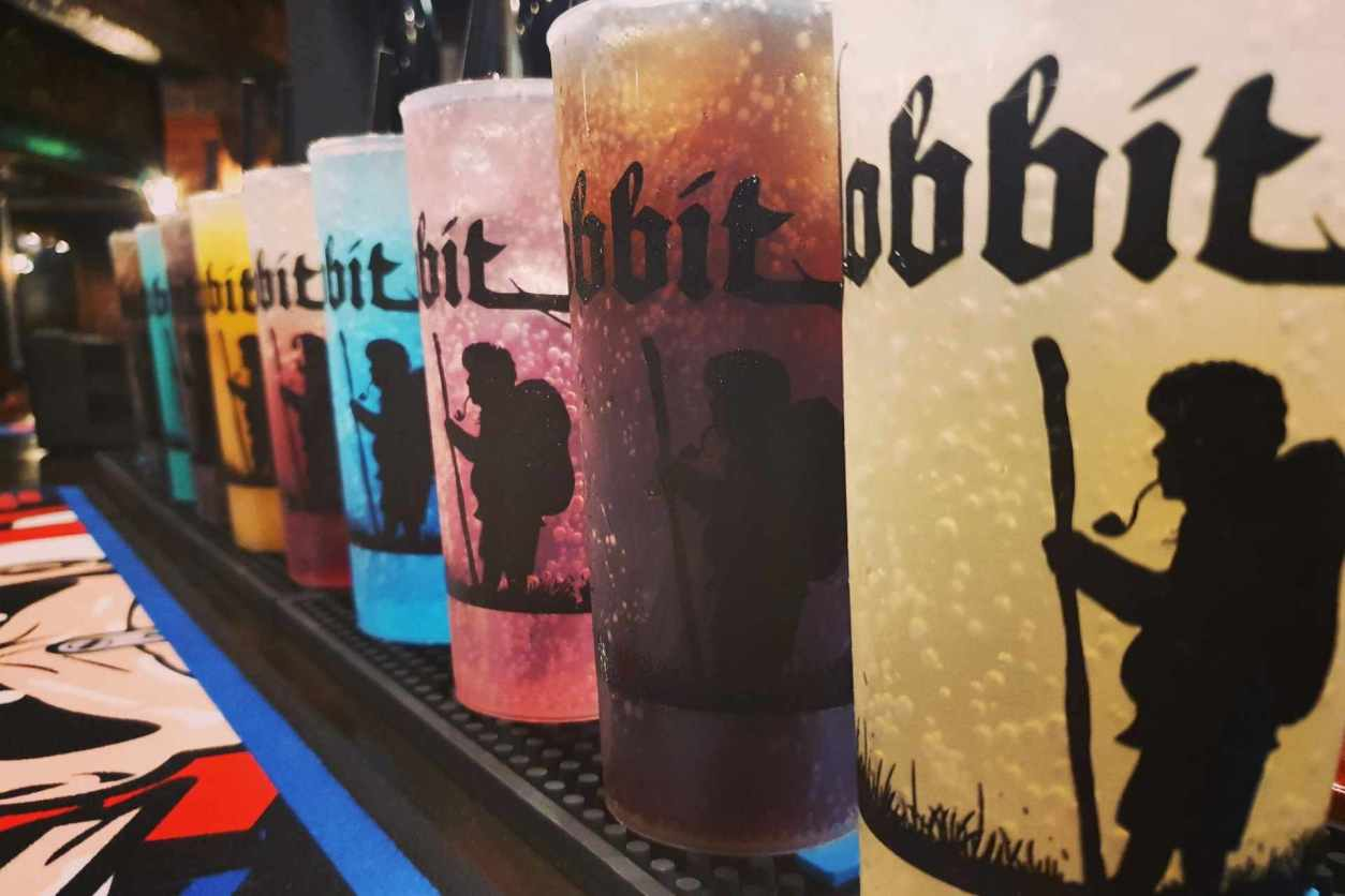 colourful-beer-cups-on-bar-at-the-hobbit-pub