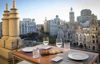 two-glasses-of-white-wine-on-rooftop-bar-overlooking-square-2-days-in-valencia-itinerary