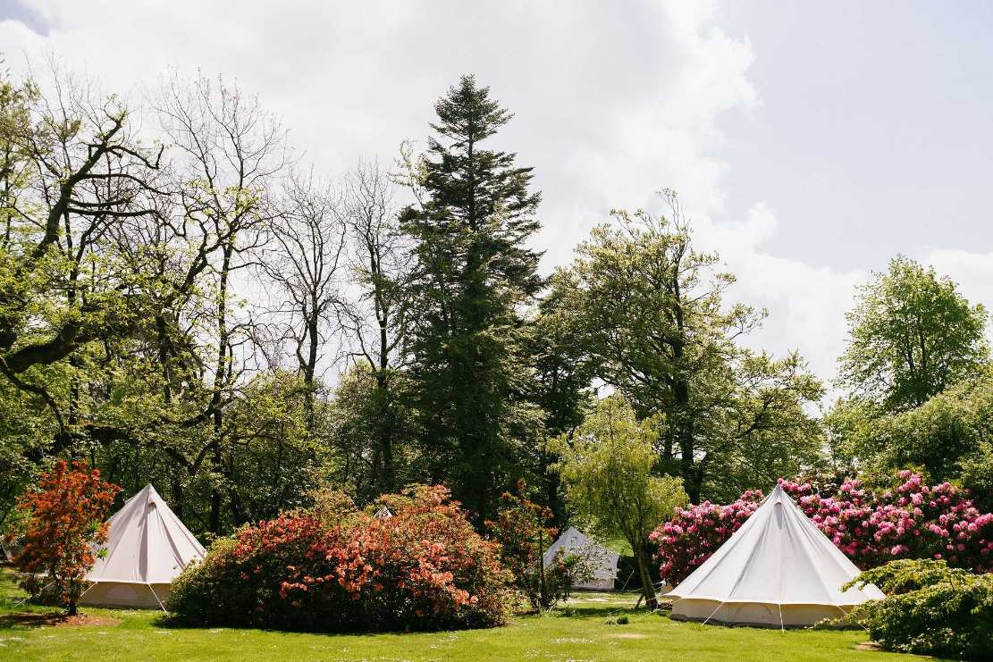 four-white-bell-tents-in-field-at-ballyvolane-house-glamping-cork