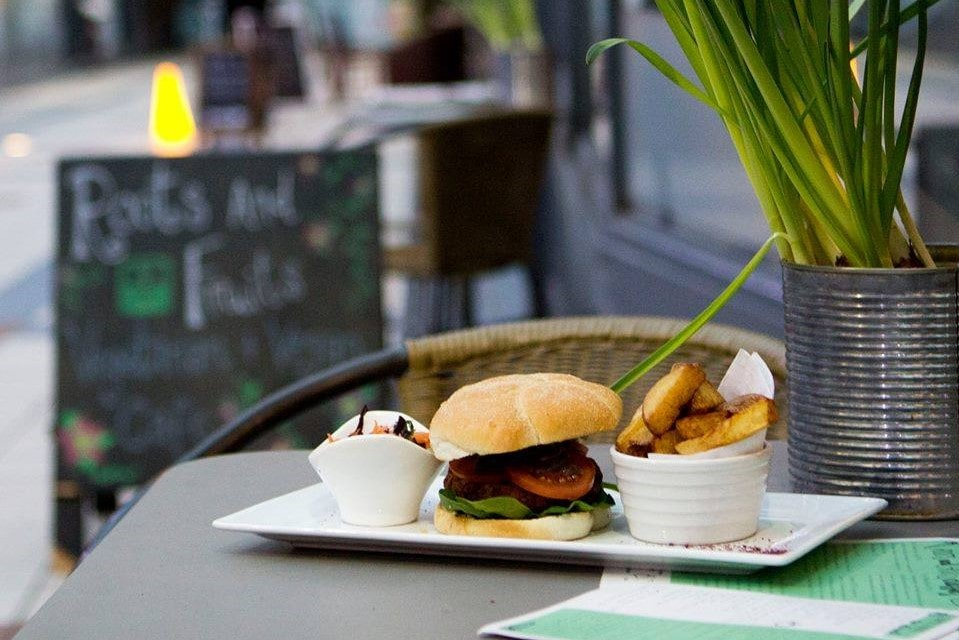 vegan-burger-and-chips-at-roots-and-fruits-vegan-restaurants-leeds
