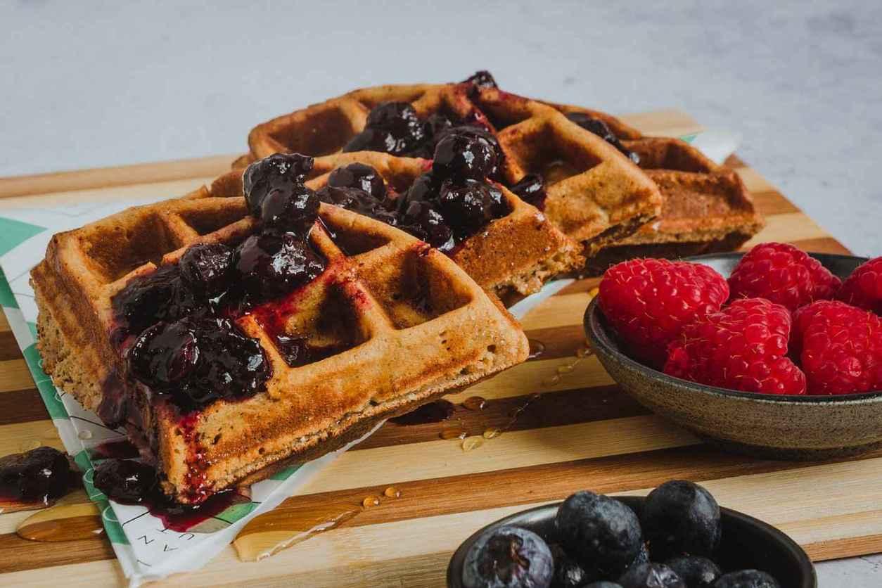waffles-with-berries-at-clean-cut-kitchen-vegan-restaurants-nottingham
