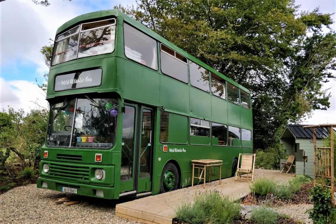 green-double-decker-wild-atlantic-bus-glamping-galway