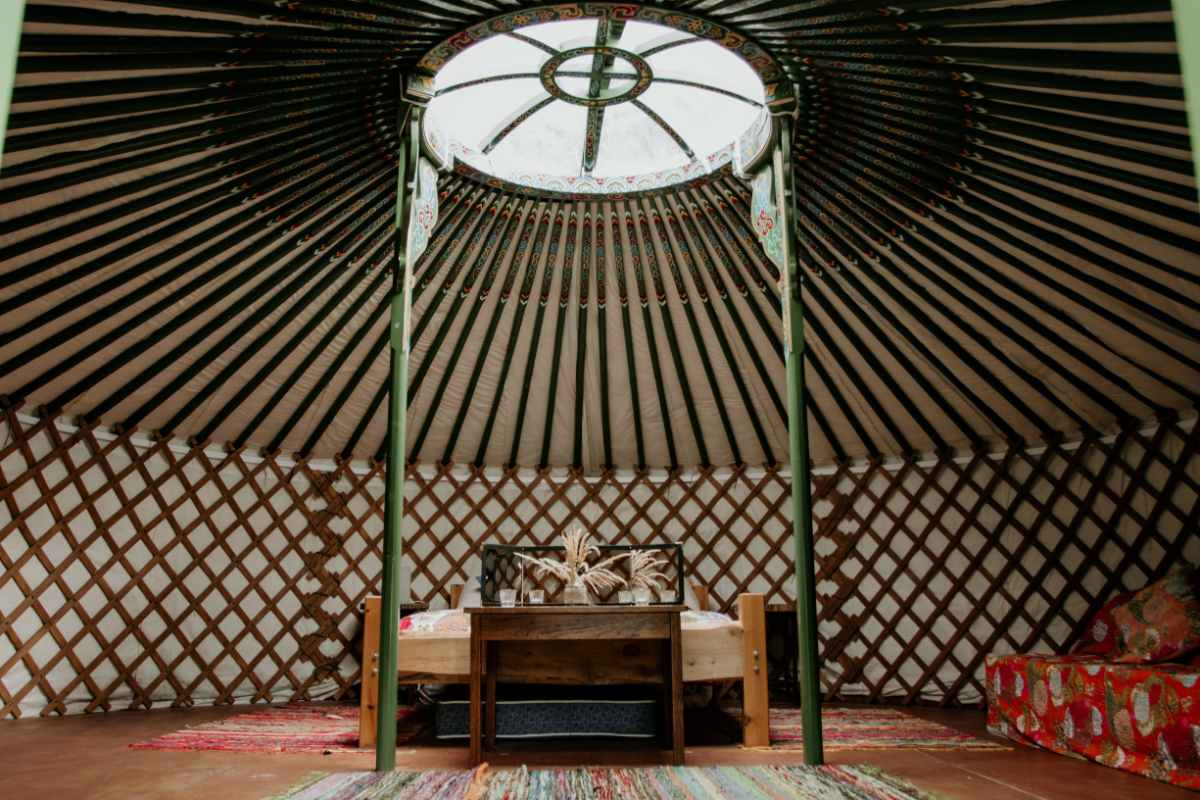 interior-of-browning-bros-yurt-with-double-bed